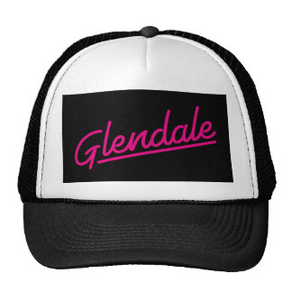 Glendale in magenta trucker hat