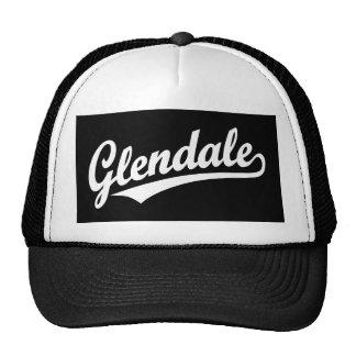 Glendale script logo in white trucker hat