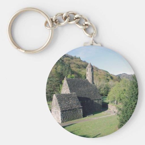 Glendalough view basic round button keychain