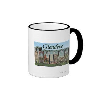 Glendive, Montana - Large Letter Scenes Ringer Coffee Mug