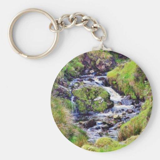 Glengesh Pass In Ireland Stream Brooks Water Moss Key Chains