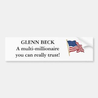 GLENN BECK, millionaire Car Bumper Sticker