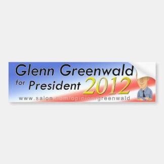 Glenn Greenwald para el presidente 2012 Pegatina Para Auto