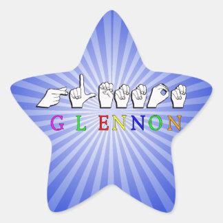 GLENNON NAME SIGN FINGERSPELLED ASL STAR STICKER