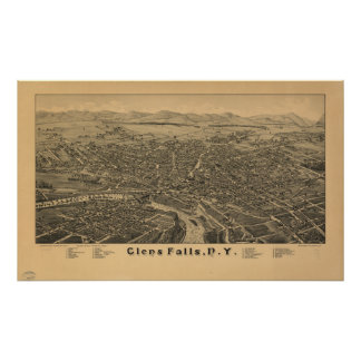 Glens Falls New York 1884 Antique Panoramic Map Poster
