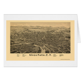 Glens Falls, NY Panoramic Map - 1884 Card