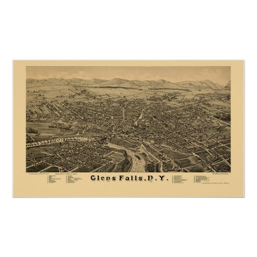Glens Falls, NY Panoramic Map - 1884 Poster