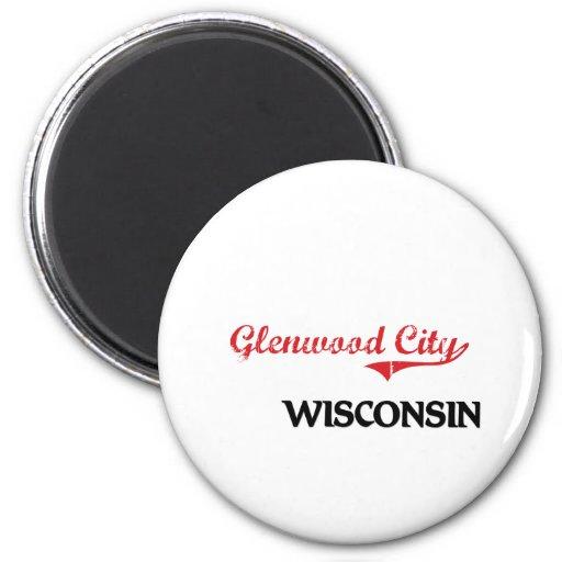 Glenwood City Wisconsin City Classic 2 Inch Round Magnet