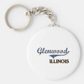 Glenwood Illinois City Classic Basic Round Button Keychain