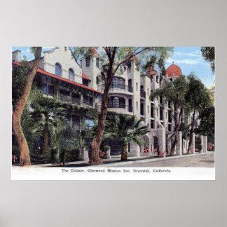 Glenwood Mission Inn, Riverside CA Vintage Poster