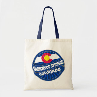 Glenwood Springs Colorado flag burst tote bag