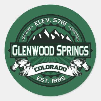 "Glenwood Springs ""Colorado Green"" Logo Classic Round Sticker"