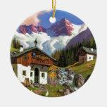 Gletcherwelt, Switzerland Double-Sided Ceramic Round Christmas Ornament