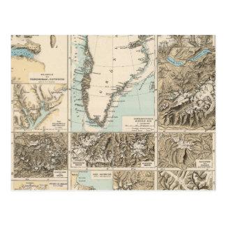 Gletscherkarte - Glacier Atlas Map Post Cards