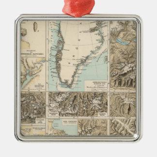 Gletscherkarte - mapa del atlas del glaciar adorno navideño cuadrado de metal