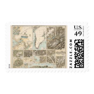 Gletscherkarte - mapa del atlas del glaciar estampilla