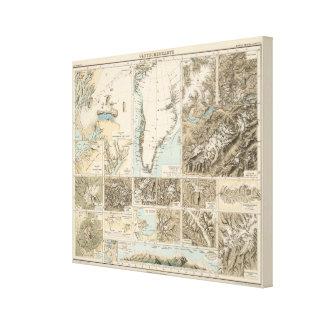 Gletscherkarte - mapa del atlas del glaciar impresión en lienzo estirada