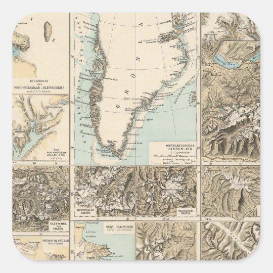 Gletscherkarte - mapa del atlas del glaciar pegatina cuadrada