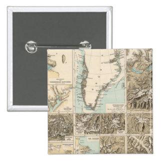 Gletscherkarte - mapa del atlas del glaciar pin cuadrado