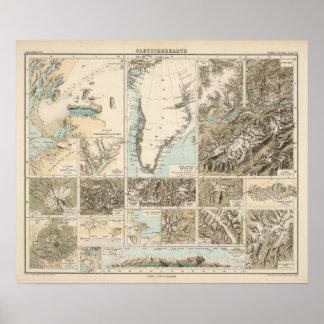 Gletscherkarte - mapa del atlas del glaciar póster