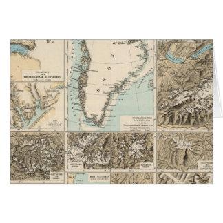 Gletscherkarte - mapa del atlas del glaciar tarjeta de felicitación