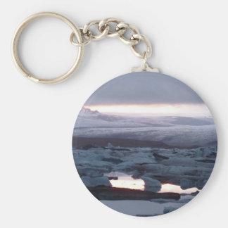 Gletscherlagune Island Basic Round Button Keychain