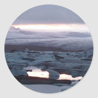 Gletscherlagune Island Classic Round Sticker