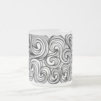 Glew Abstract Expression Black and White 10 Oz Frosted Glass Coffee Mug