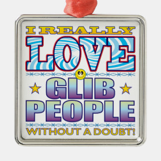 Glib People Love Face Square Metal Christmas Ornament