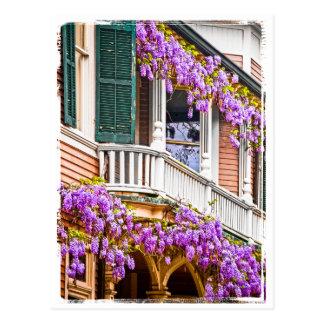 Glicinias en un hogar meridional del vintage en tarjetas postales