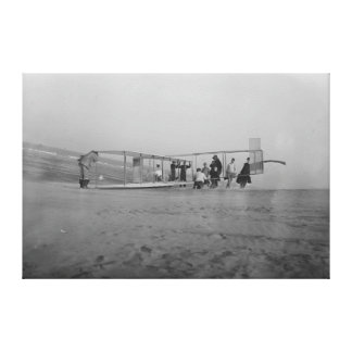 Glider being prepared for flight by canvas print
