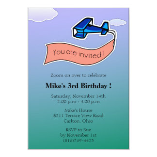 Glider -Birthday Party Invitation-6 Card