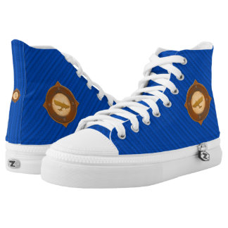 Glider Medallion Blue Striped Monogram High Tops