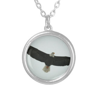 Gliding bald eagle silver plated necklace