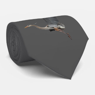 Gliding Great Blue Heron Wildlife Design Tie