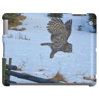 Gliding Great Grey Owl and Snow Wildlife Raptor