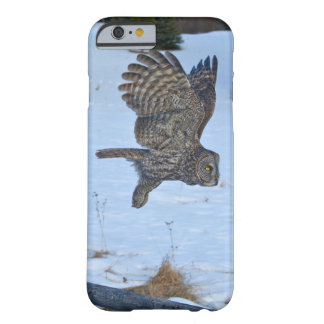 Gliding Great Grey Owl and Snow Wildlife Raptor Barely There iPhone 6 Case
