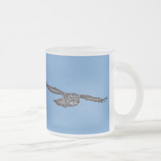 Gliding Great Grey Owl & Blue Sky Wildlife Raptor Frosted Glass Coffee Mug