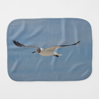 Gliding Laughing Gull Baby Burp Cloth