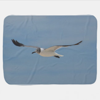 Gliding Laughing Gull Receiving Blanket