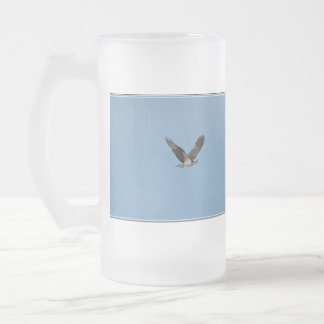 Gliding Osprey Frosted Glass Beer Mug