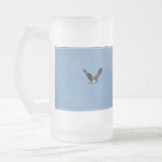 Gliding Osprey Frosted Glass Beer Mug