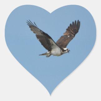 Gliding Osprey Heart Sticker