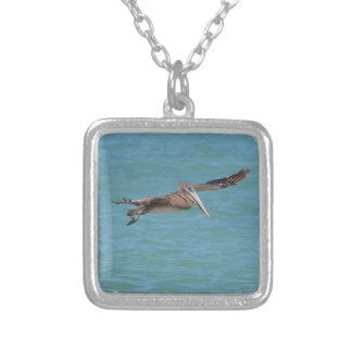 Gliding Pelican Square Pendant Necklace