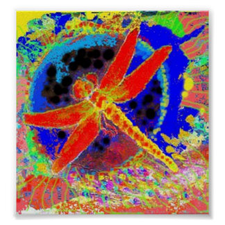 Gliding Red Dragonfly by Sharles Poster