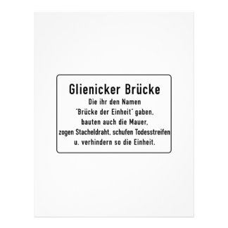 Glienicker Brücke, Berlin Wall, Germany Sign Custom Letterhead