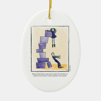 GLIMPSE cartoon by Ellen Elliott Ceramic Ornament