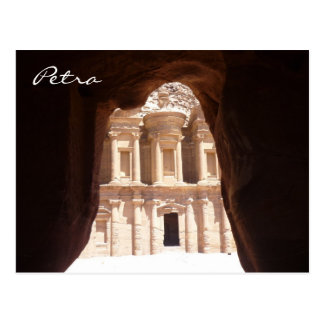 glimpsed monastery petra postcard