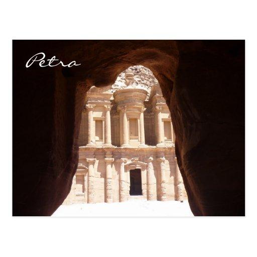 glimpsed monastery petra post card