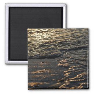 Glistening Beach Morning 2 Inch Square Magnet